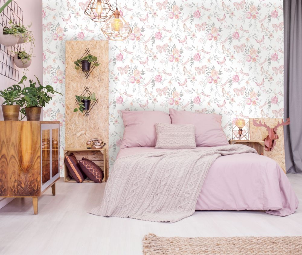Holden Decor Watercolour Butterfly Coral 90100 Wallpaper